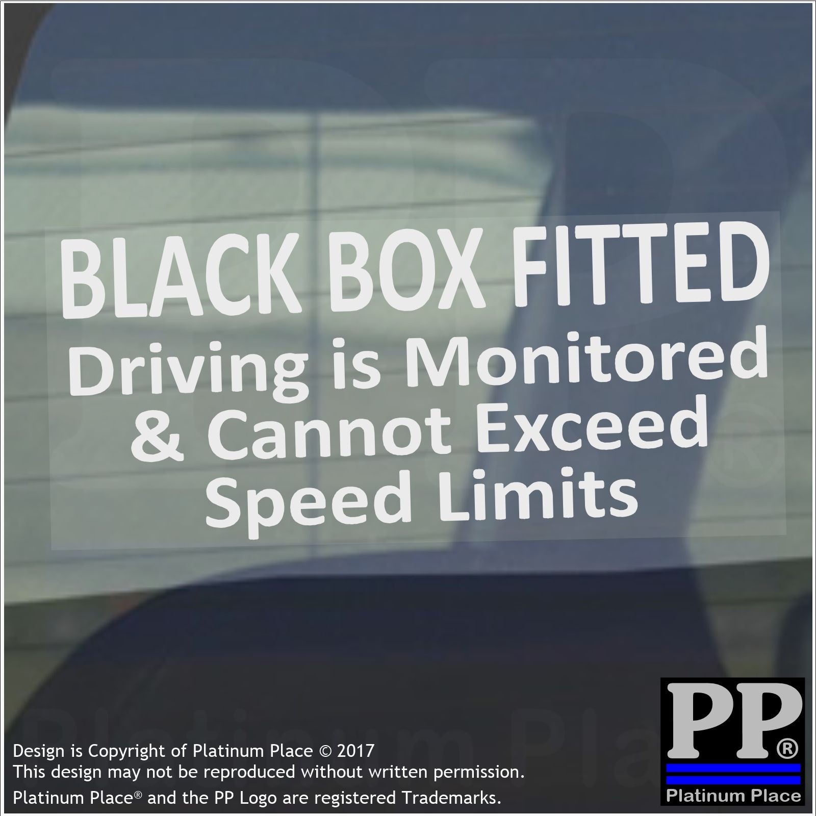 1 X Black Box Fitted Driving Speed Monitored Warning Stickers Sign