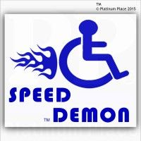 1 x Funny Joke-Speed Demon-EXTERNAL BLUE ON WHITE-Disabled Car,Van Sticker-Disability Mobility Sign