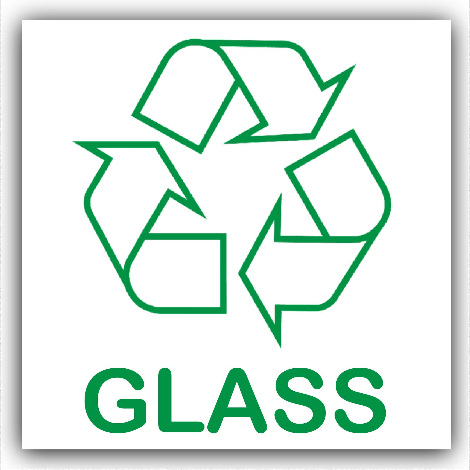 1 X Glass Recycling Bin Adhesive Sticker Recycle Logo Sign