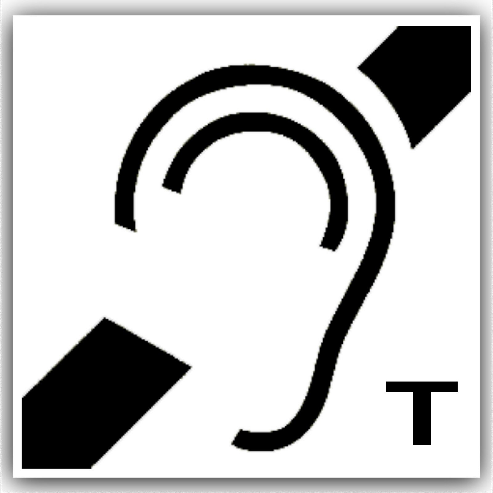 1 X Hard Of Hearing Induction Loop Stickers With T Symbol Self