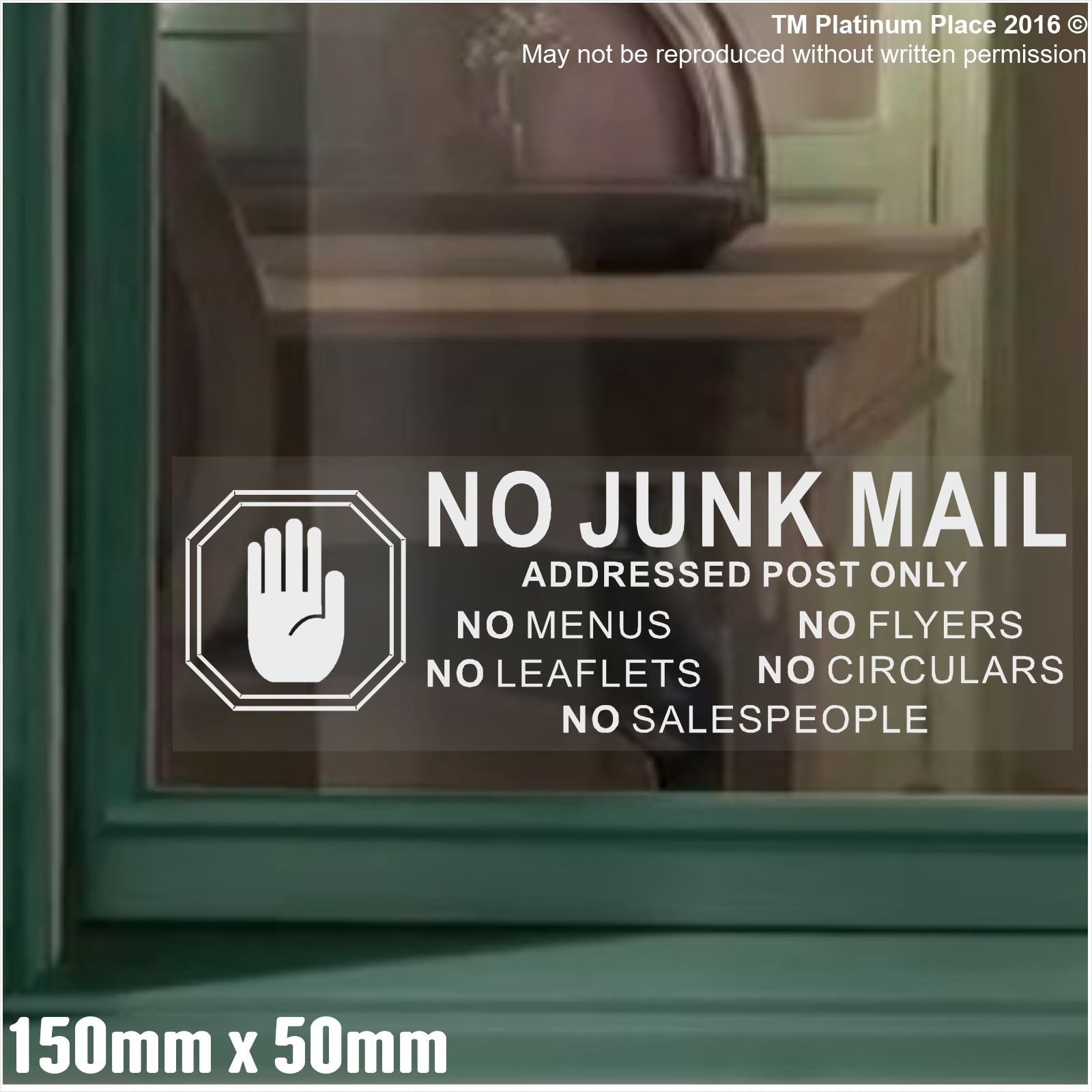 1 x no junk mail hand white on clear window warning house sticker