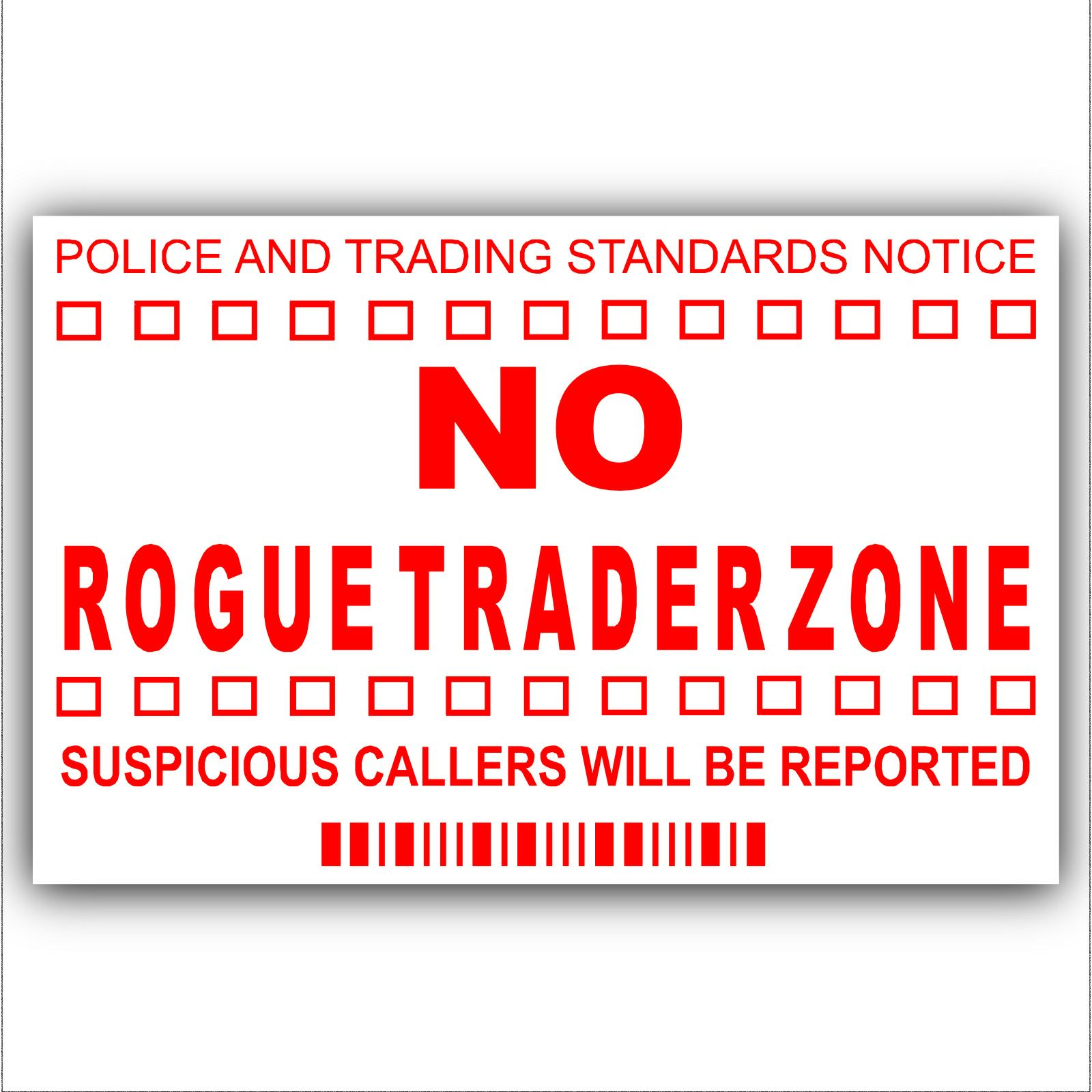 1 x No Rogue Traders Zone-Red on White-Cold Callers,Salesman Calling  Warning House Sticker-Self Adhesive Vinyl-Door or External Window Sign