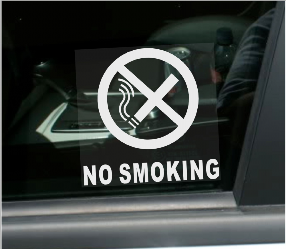 1 x no smoking for car window stickers with text vehicle self adhesive warning signs health and safety car taxi minicab van taxi cab bus coach minibus