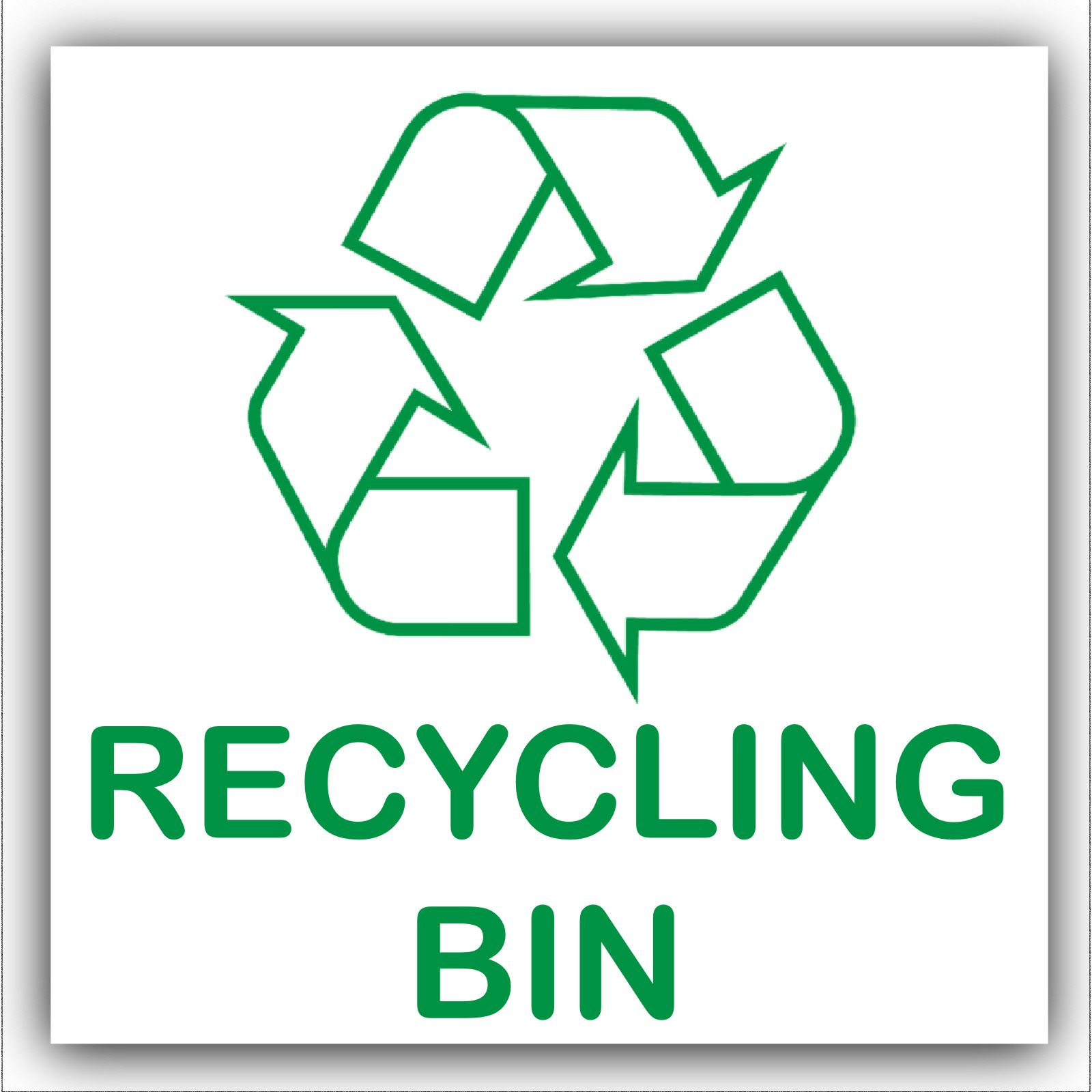 1 X Recycling Bin Self Adhesive Sticker Recycle Logo Sign