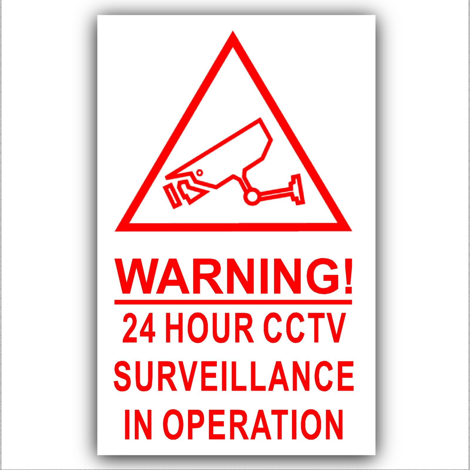 1 x Red on White-130mm-Camera Warning 24 Hour CCTV Surveillance In ...