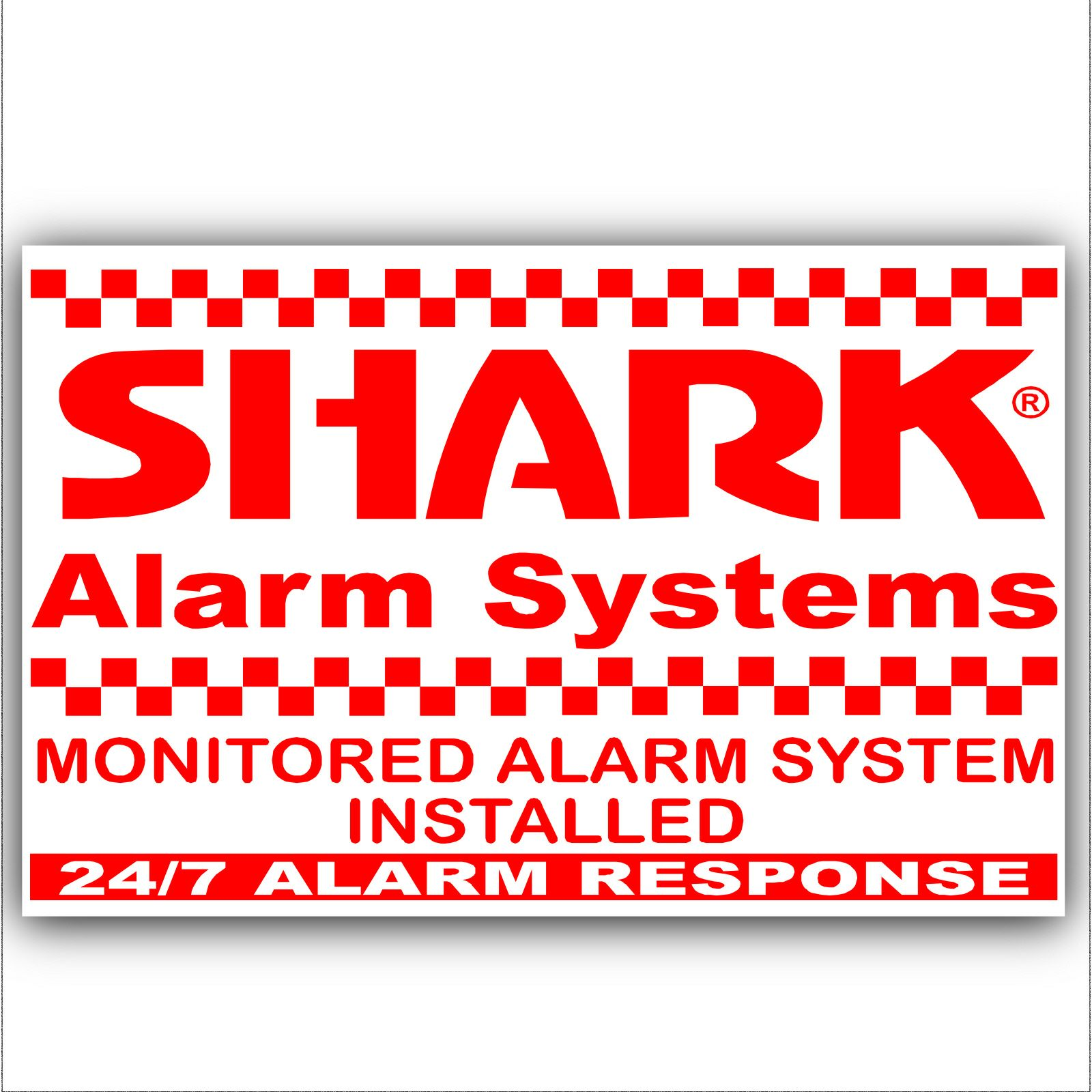 1 x Shark Property Protected Stickers-Red On White-Monitored