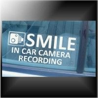 1 x Vehicle In Car Camera Recording Sticker-Smile CCTV Sign-Van,Lorry,Truck,Taxi,Bus