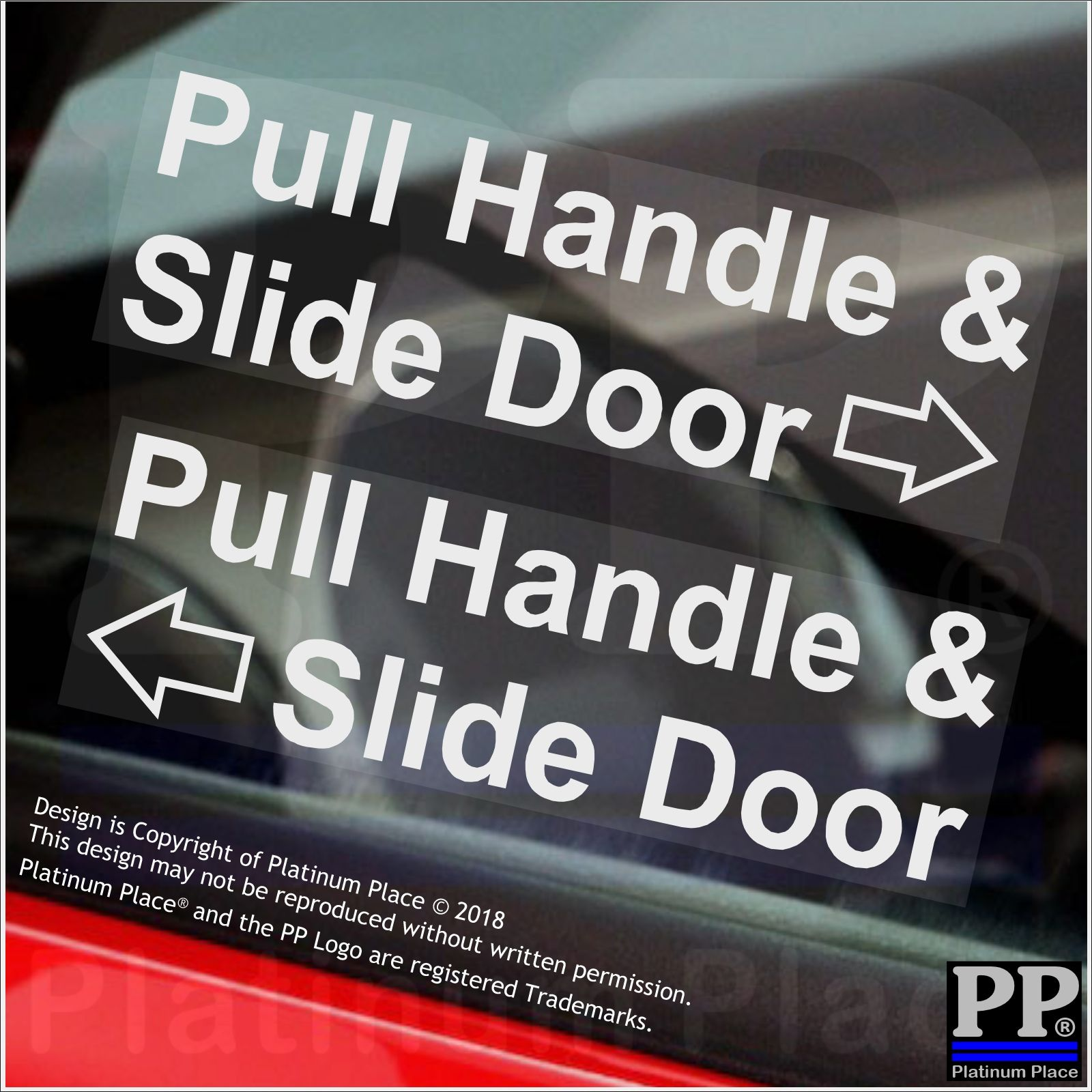 2 x Pull Handle,Slide Door Stickers-Car,Hackney Mini Cab,Taxi Minicab  Safety Signs