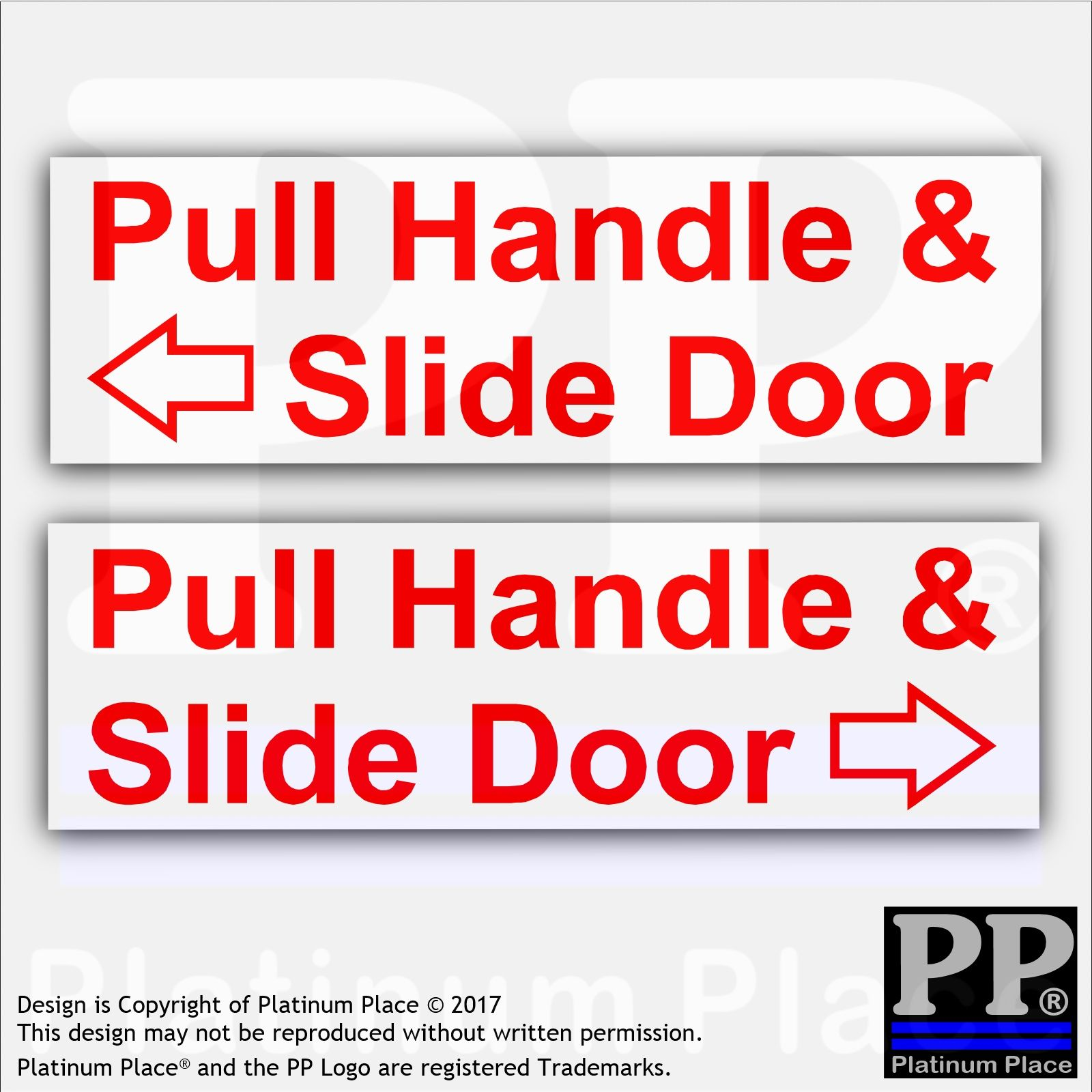 2 X Pull Handle Slide Door Stickers Red On White Car