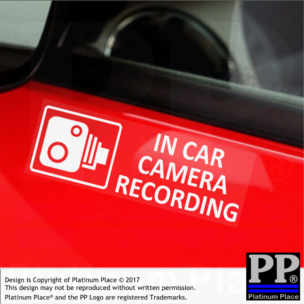 5 x external small in car camera recording window stickers 87mmx30mm cctv sign van lorry truck taxi