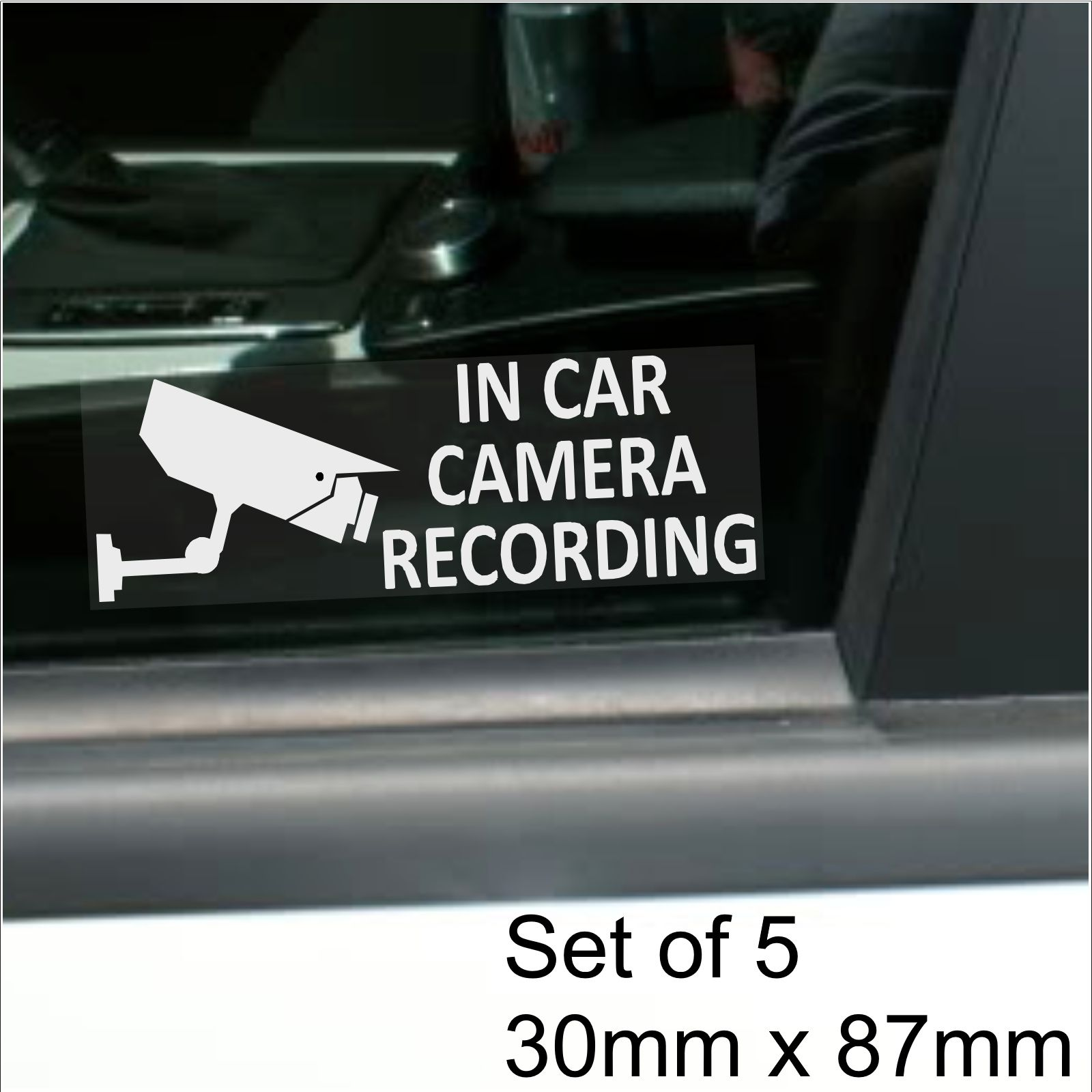 Platinum Place 4 x 60x87mm In Car Camera Recording Window Stickers-White on Clear-CCTV Sign-Van,Lorry,Truck,Taxi,Bus,Mini Cab,Minicab.White onto Clear Adhesive Vinyl Signs-Go Pro,Dashcam