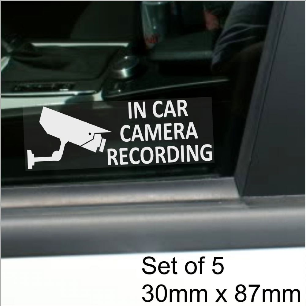 5 x in car camera recording standard camera design window stickers 87mm x 30mm white on clear cctv sign vanlorrytrucktaxibusmini cabminicab security