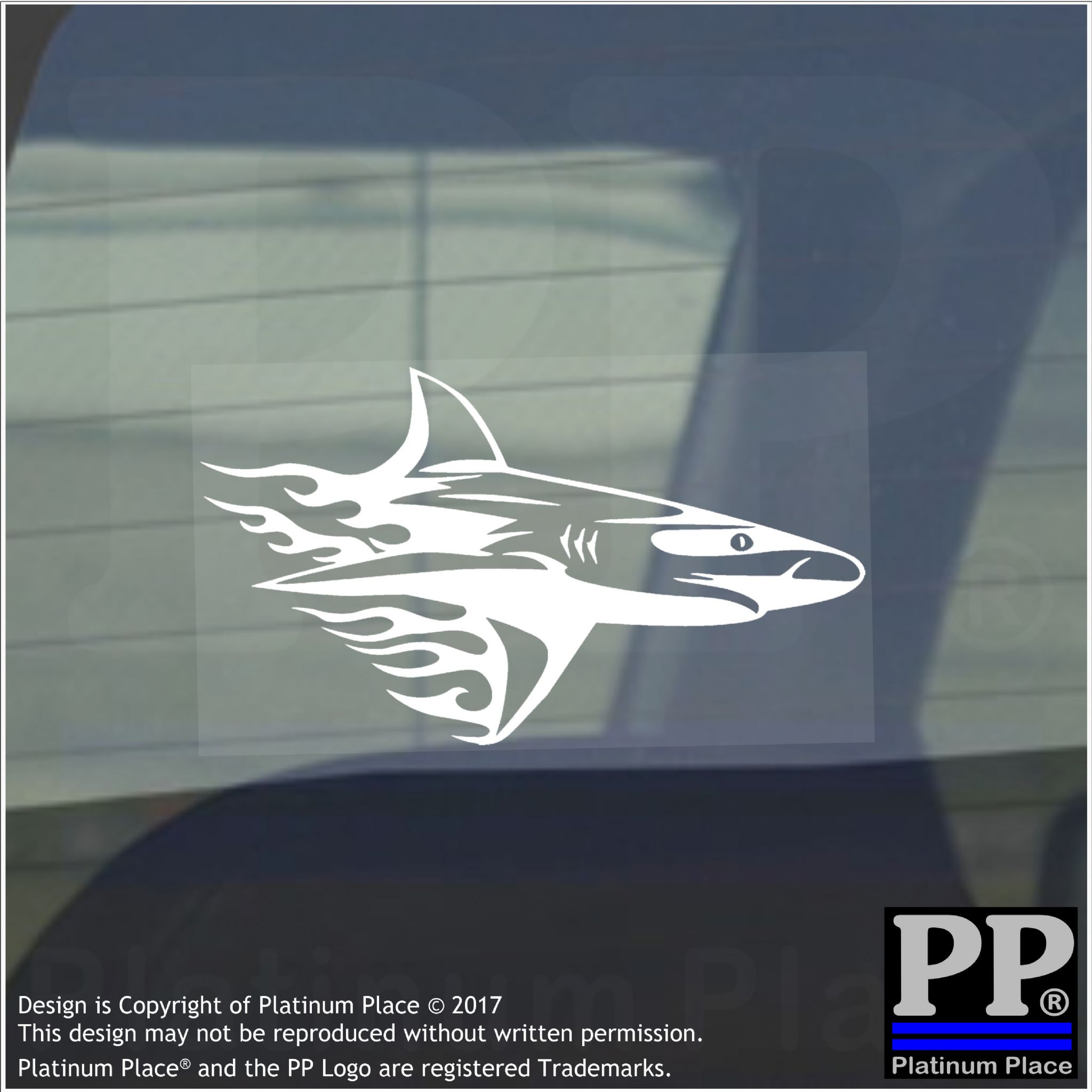 Shark Flame Vinyl Sticker Car Window Graphic Decal Sign