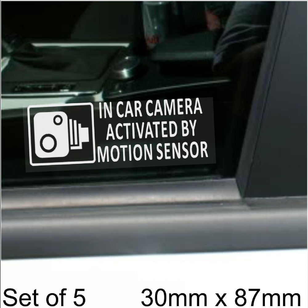 5 x SMALL 87x30mm In Car Camera Activated by Motion Sensor Stickers-Vehicle Security Detection Stickers Signs-CCTV For Car,Van,Truck,Taxi,Mini Cab,Bus